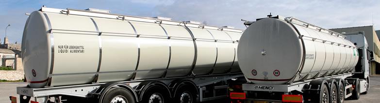 Mezzi con cisterne per trasporto liquidi in Puglia e Basilicata (Sud Italia)